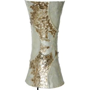 Lámpara aplique pared fibra y nácar en color blanco y beige