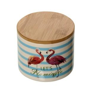 Bote con tapa cerámica y madera
