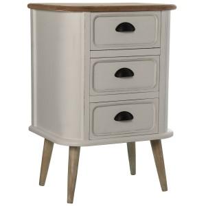 Mesa de noche en blanco y tablero beige
