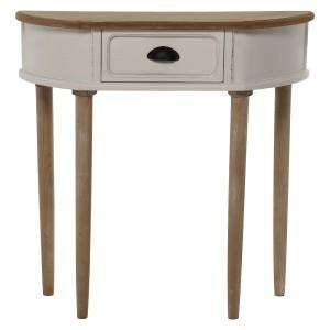 Mesa entrada en blanco y tablero beige