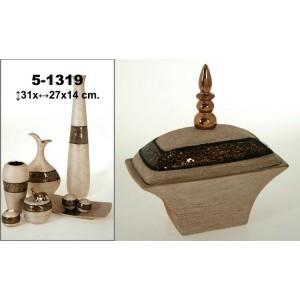Bombonera cerámica marrón