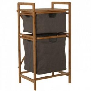 Mueble organizador bambú y gris
