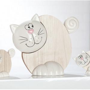 Figura gato plano Marrón y blanco
