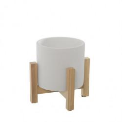 Set 4 maceteros cemento y madera