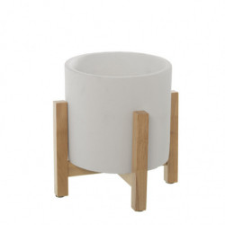 Set 2 maceteros cemento y madera