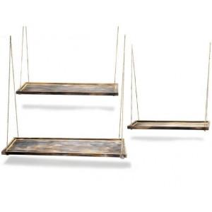 Set de 3 bandejas de madera en color oscuro para colgar del techo o pared de estilo vintage
